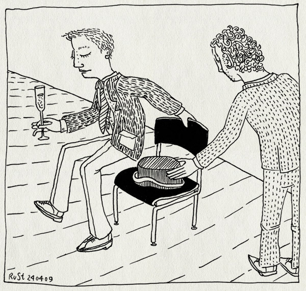 tekening 708, best man, chair, hat, hoed, huwelijk, marcel, msteeman, pak, rick, stoel, suit, zitten