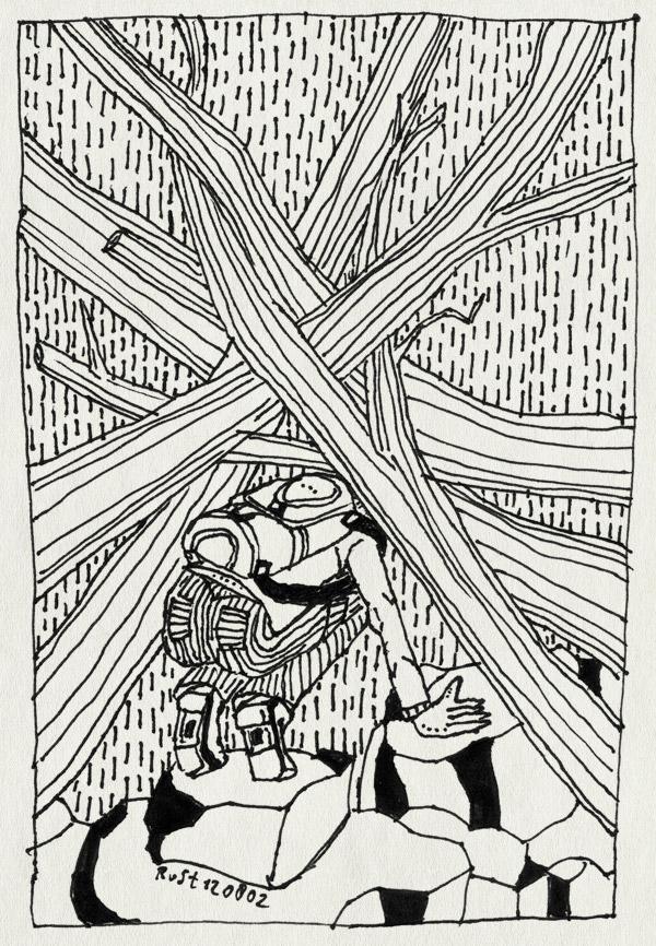 tekening 71, bomen, hiking, rivierbedding, rugzak, schwarzwald, takken, toch, vakantie