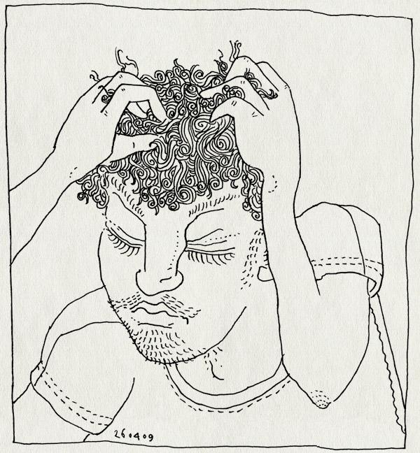 tekening 710, haar, hair, handen, hands, krabben, scratch