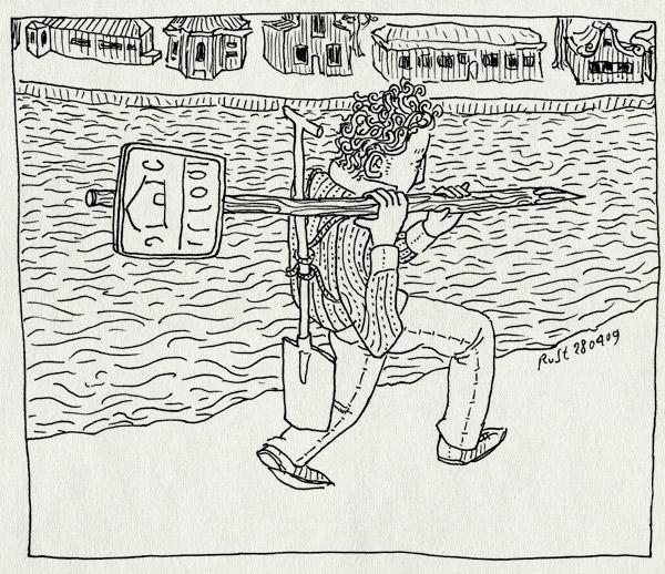 tekening 712, bord, for sale, house, huis, jacht, river, rivier, schep, shovel, te koop