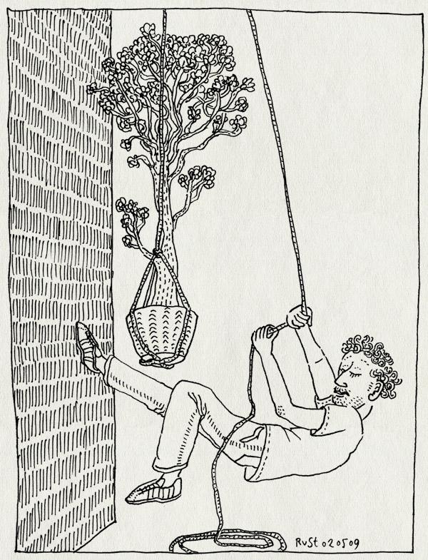 tekening 716, amsterdam, balkon, boom, lente, plant, takelen, thuis, tuincentrum