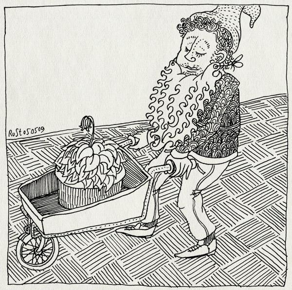 tekening 719, baard, beard, garden gnome, kabouter, kruiwagen, tuinkabouter, tussentijd