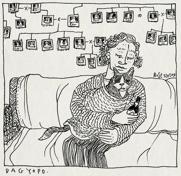 tekening 726, 1999, bank, cat, eindhoven, ervengalanakisverschikkelijkgezellig, gran foulard, im, kat, lang haar, studentenhuis, trui, willemdezwijgerstraat, yopo