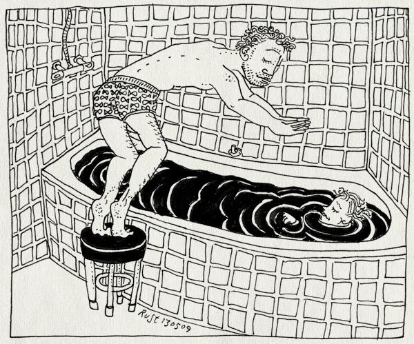 tekening 727, bad, badkamer. bathroom, bath, dive, duiken, krukje, midas, plons, stool, tegels, tiles