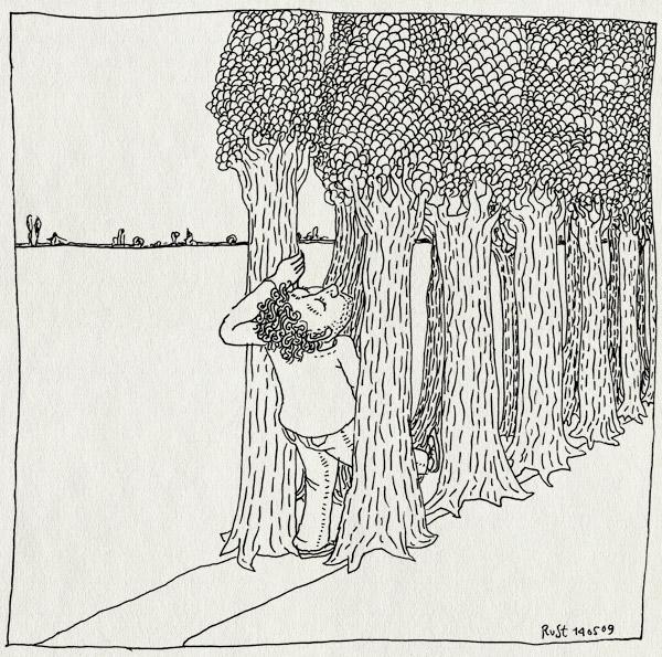 tekening 728, almere, bomen, pad, passage, path, road, trees, weg