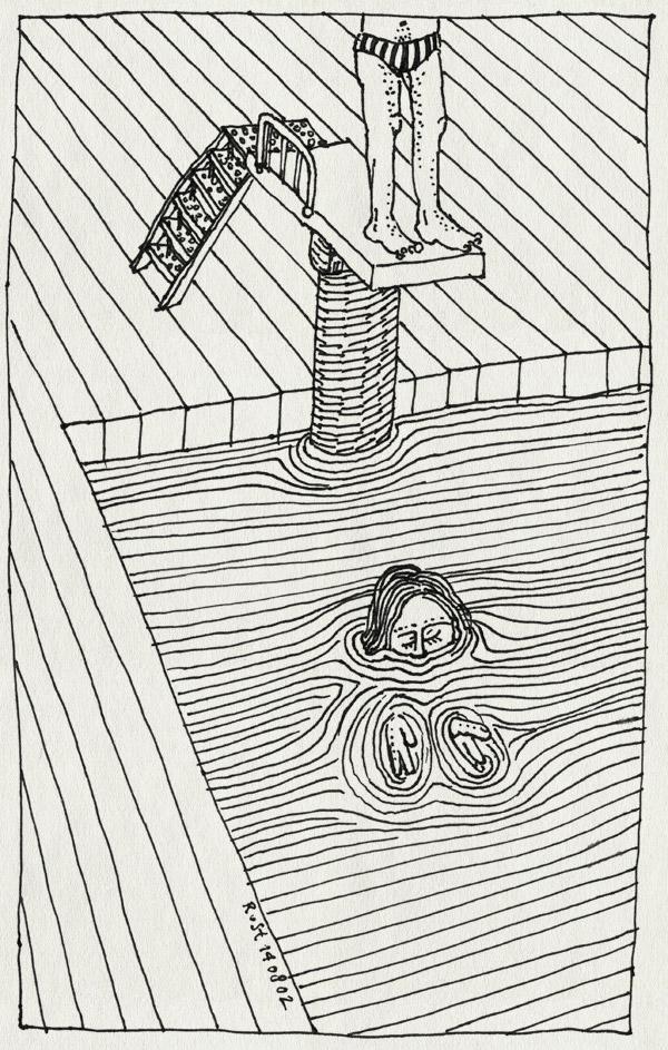 tekening 73, denkbeeld, duiken, duikplank, gevaarlijk, pas op, water, zwambad