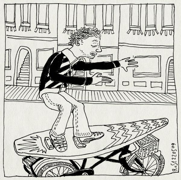 tekening 736, amsterdam, bicycle, burorust, fiets, micompany, road, surf, surfing, surfplank, weg