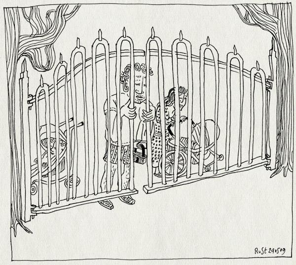 tekening 738, 10e, afgesloten, alwine, amsterdamse bos, bugaboo, buggy, fence, gesloten, hek, locked, martine, midas