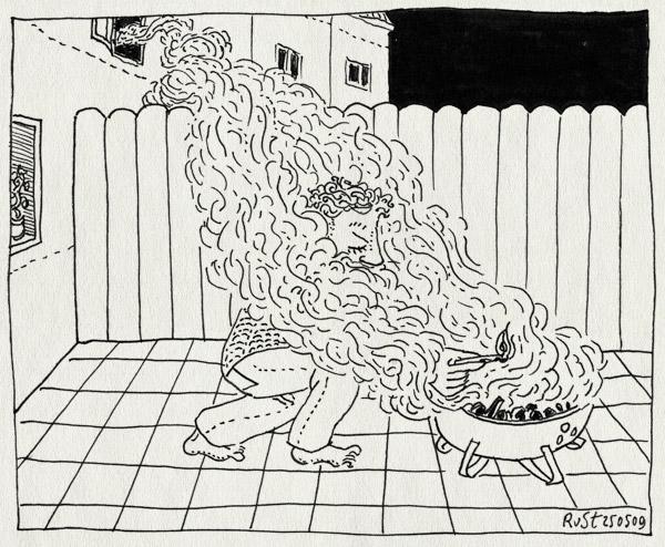 tekening 739, aansteken, barbecue, bbq, buren, castricum, fence, hek, neigbours, rook, schutting, smoke, uitroken
