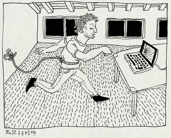 tekening 741, burorust, mac, macbook, rope, touw, verlangen, wachten