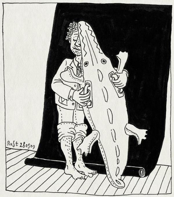 tekening 742, achterdoek, crocodile, fotoshoot, inflatable, krokodil, micompany, opblaaskrokodil, opgerolde broekspijpen