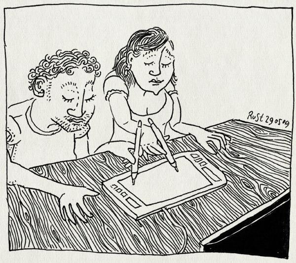 tekening 743, burorust, collaboration, martine, pen, ruben, samenwerken, wacom