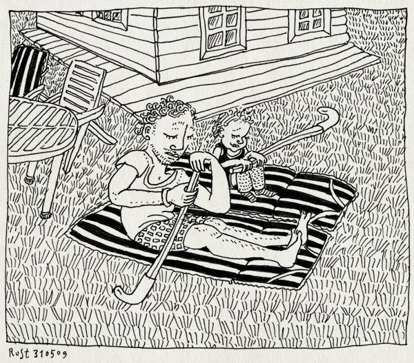tekening 745, bakkum, camping, dekje, gras, hockeystick, huisje, midas, pretending, puur, spelen, tuinstoel