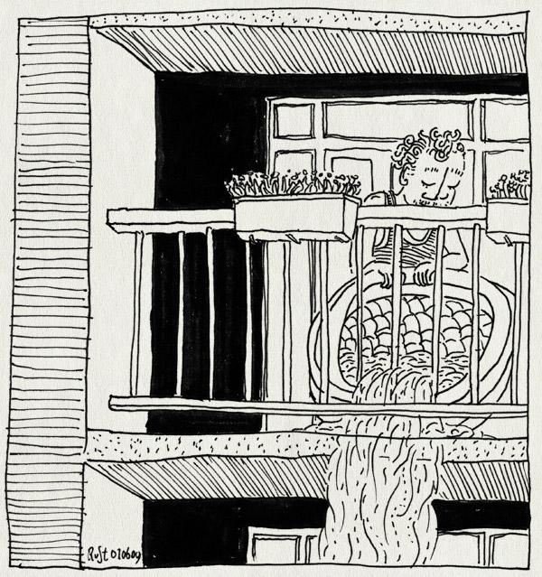 tekening 746, badje, balcony, balkon, bath, bloembak, empty, legen