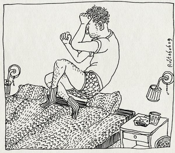 tekening 751, bed, dekbed, jump, lamp, maasstraat, midas, springen