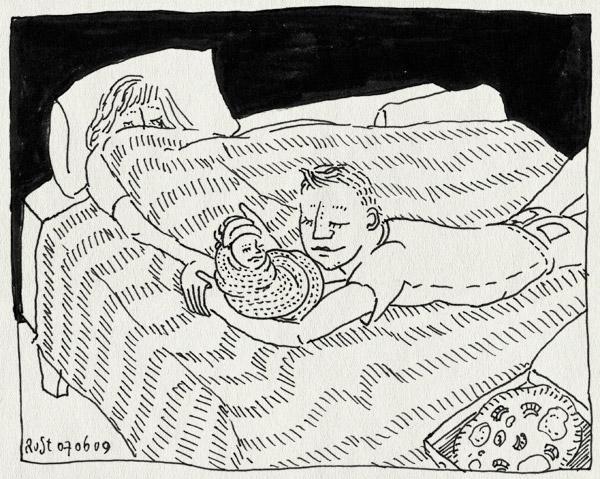 tekening 752, 070609, castricum, geboorte, marcel, marije, neborn, pizza, saartje, willemijn
