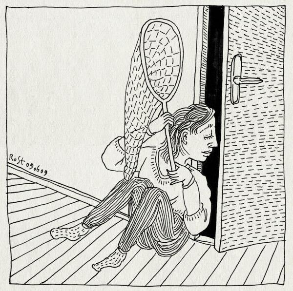 tekening 754, 10e, bedtijd, deur, kier, kiertje, martine, midas, uit bed komen, vangen, vangnet, wachten