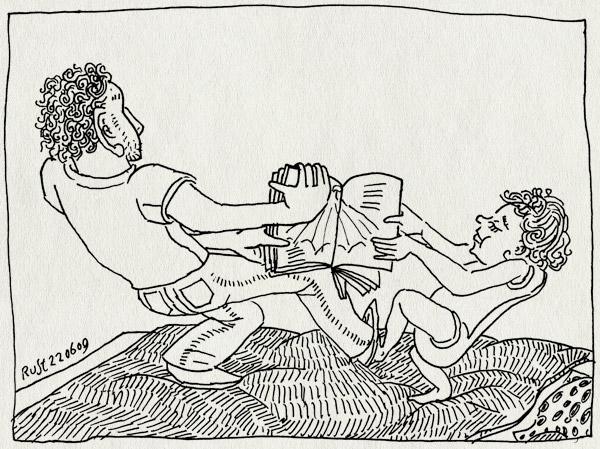 tekening 767, bed, boek, boekje, book, midas, touwtrekken, trekken