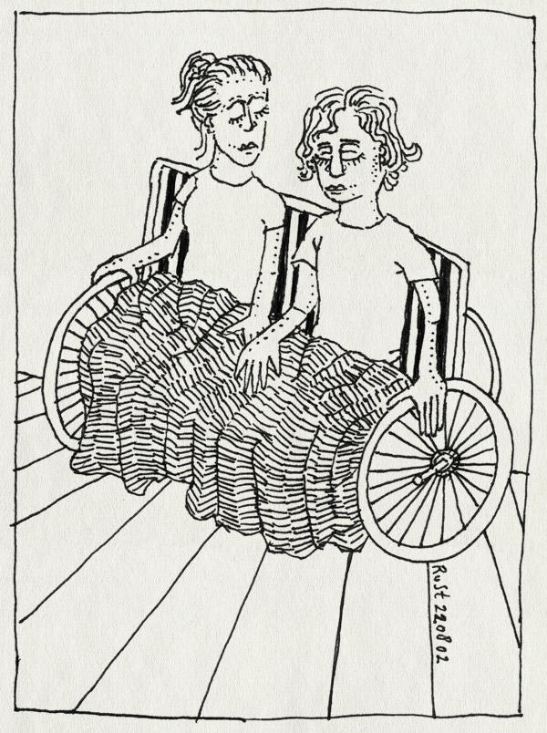 tekening 77, agnes, bejaard, dekentje, kleed, naast elkaar, oud, rolstoel, ruben, samen