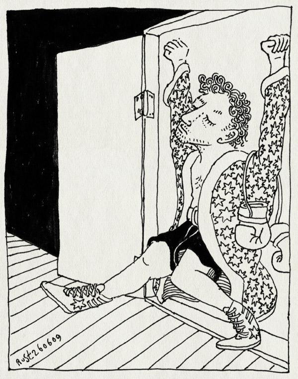 tekening 771, binnenkomst, boxen, boxing, entrance, music, overwinning, rocky theme