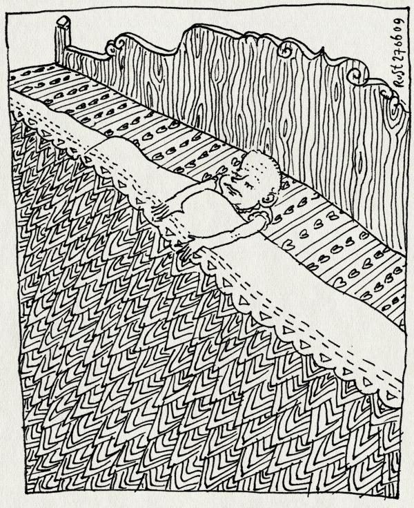 tekening 772, bed, big, deken, groot, klein, laken, saartje, willemijn