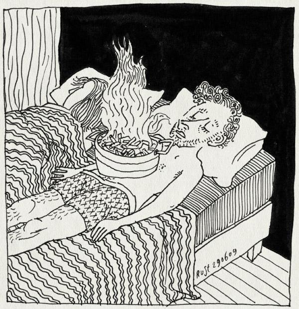 tekening 774, 10e, bed, dekbed, eten, food, martine, misselijk, slapen, sleep, strong, ziek