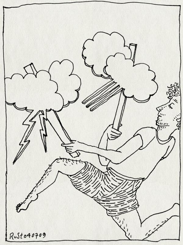 tekening 779, bliksem, bord, dans, protest, regendans, wolk