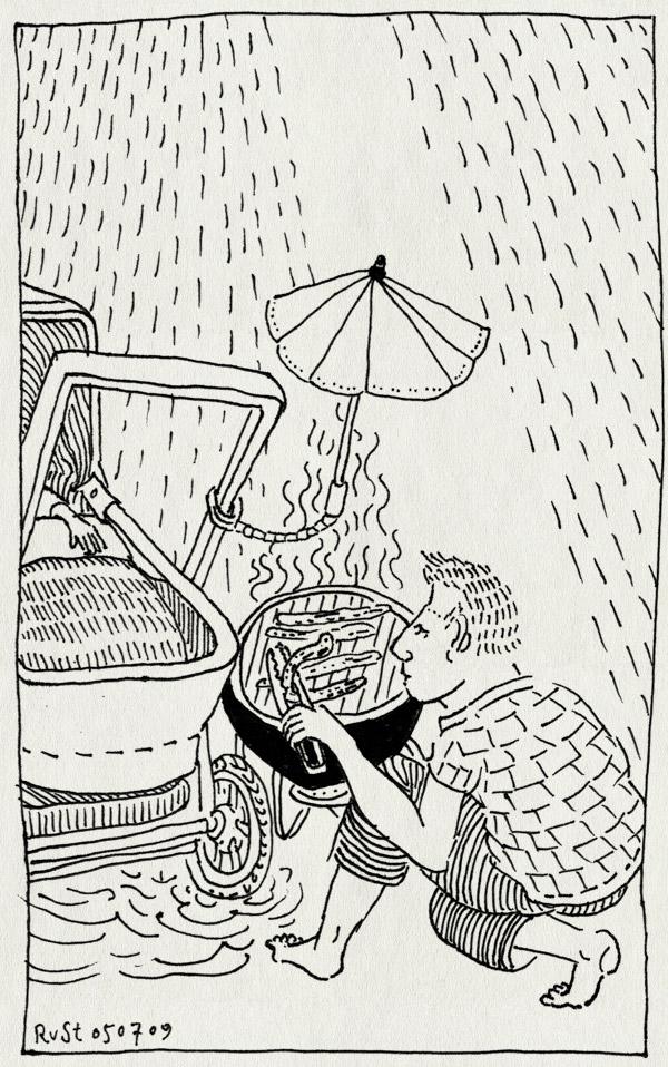 tekening 780, barbecue, bbq, bob, droog, kinderwagen, marcel, msteeman, parasol, parasolletje, regen, regenbui, sausages, schuilen, tang, willemijn, worstjes
