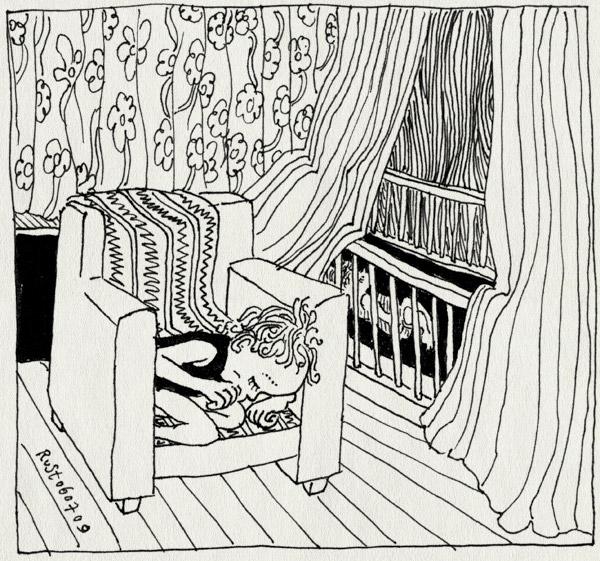 tekening 781, alwine, bed, broer, gordijnen, hemeltje, klamboe, lief, midas, slaapkamer, slapen, sleep, stoel, stout, zus