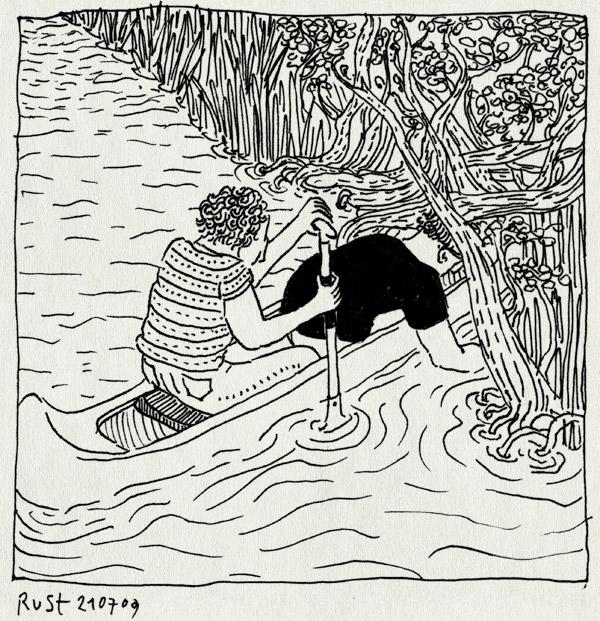 tekening 796, canoe, doorvaart, earnewald, eernewoude, friesland, hugo, kano, meer, moeras, riet, roeien, varen