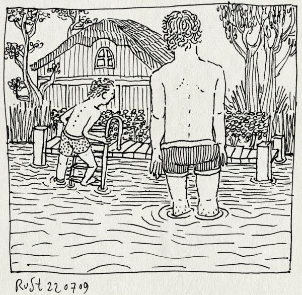 tekening 797, earnwald, eernewoude, friesland, frits, huisje, ondiep, riethorst, trapje, zwemmen