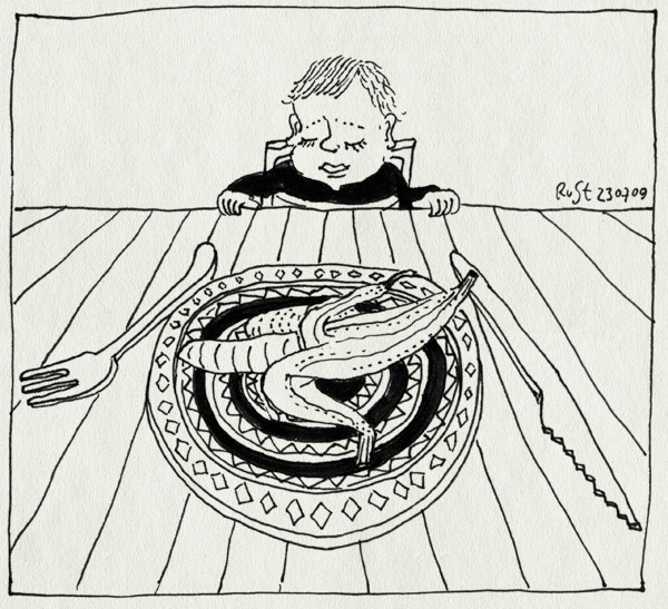 tekening 798, alwine, banaan, banana, bord, eten, kinderstoel, plate, tafel, triptrap