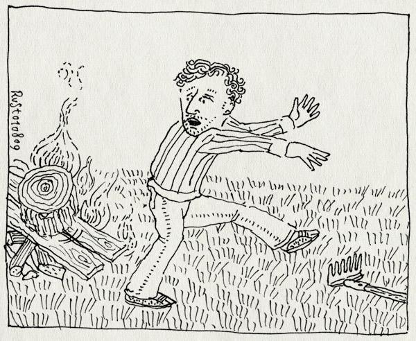 tekening 807, bonfire, familieweekend, fire, hark, kampvuur, möller, rennen, vuur