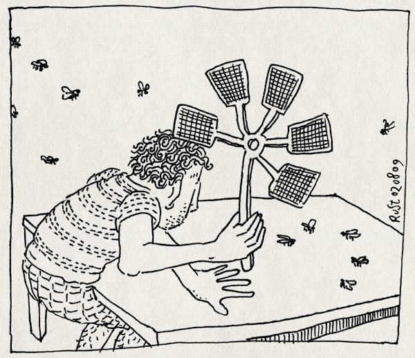 tekening 808, flies, hoge hexel, meppen, pien, vijf, vlieg, vliegen, vliegenmepper