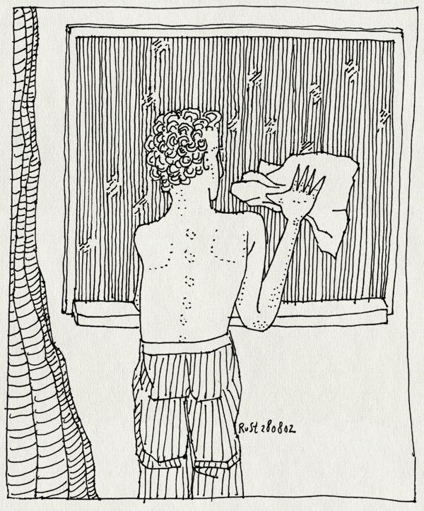 tekening 81, doek, gordijn, raam, schoonmaken