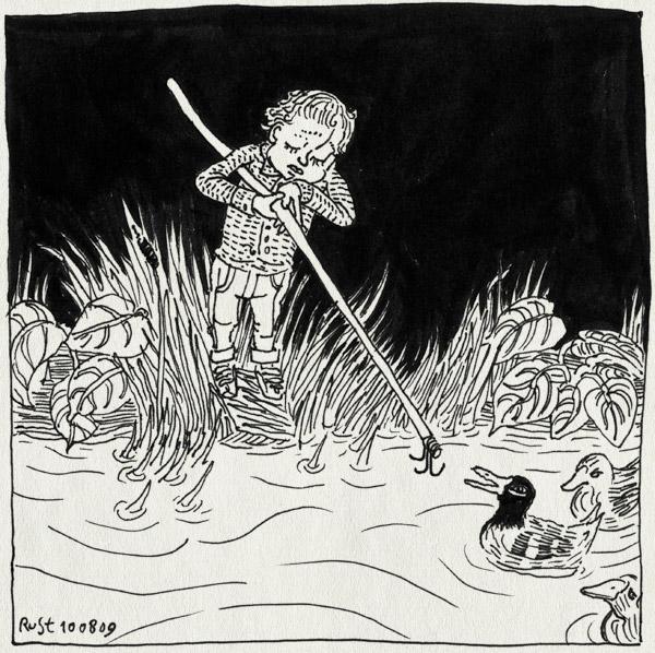 tekening 816, duck, eendjes, eendjes vissen, fishing, kermis, midas, pond, rabarber, riet, vijver, vissen