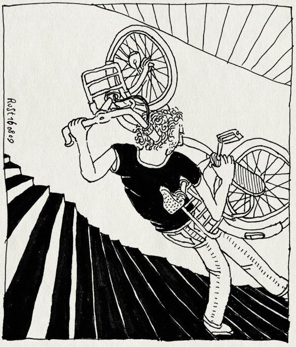 tekening 822, bicycle, bike, birthday, fiets, jarig, maasstraat, martine, staircase, stairs, trap, verjaardag