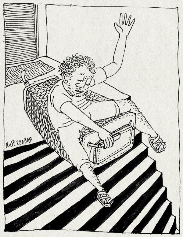 tekening 828, bye, dag, glijden, holiday, maasstraat, rolkoffer, staircase, suitcase, trap, vakantie, wave