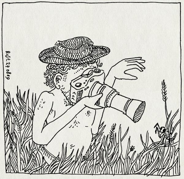 tekening 833, bidsprinkhaan, camera, fotograferen, gras, grass, hat, hoed, le rouret, mantis, praying, safari, vakantie2009, vangen