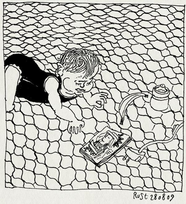tekening 834, alwine kruipen, annies huisje, eerste keer, kruipt, le rouret, speelgoed, vakantie2009, vloer
