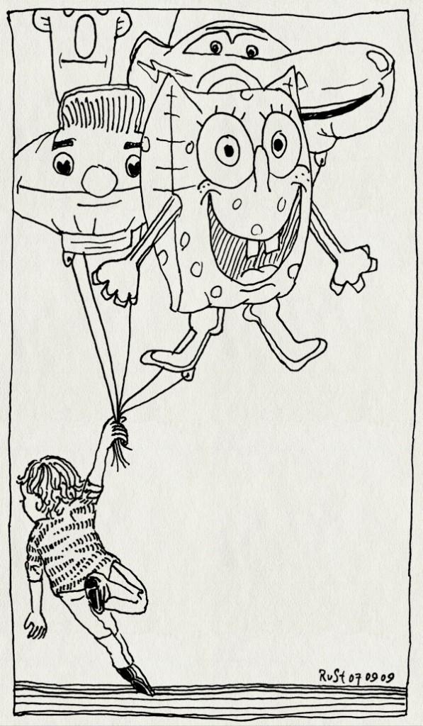 tekening 844, ballon, balloon, bert, cars, ernie, lightning mc queen, midas, schiphol, spongebob