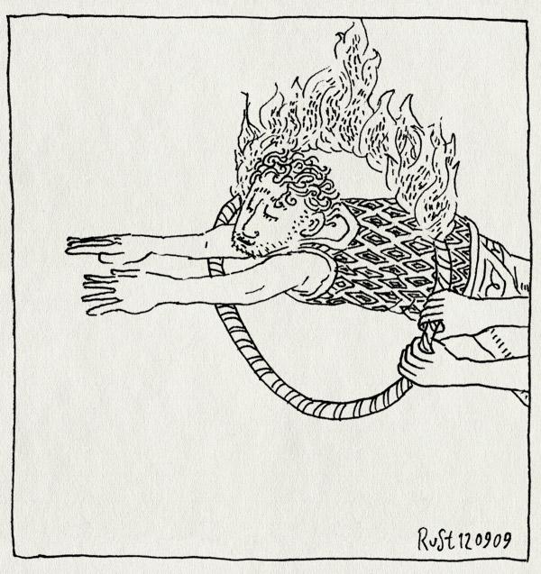 tekening 849, act, brandend, burning, circus, hoepel, hoop, jump, springen