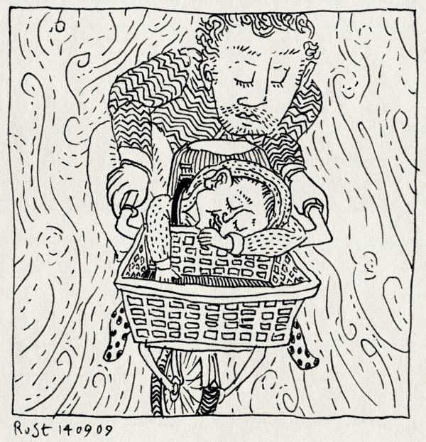 tekening 851, alwine, amsterdam, bak, bicycle, bike, fiets, fietsen, in slaap gevallen, slaap, slapen, wind