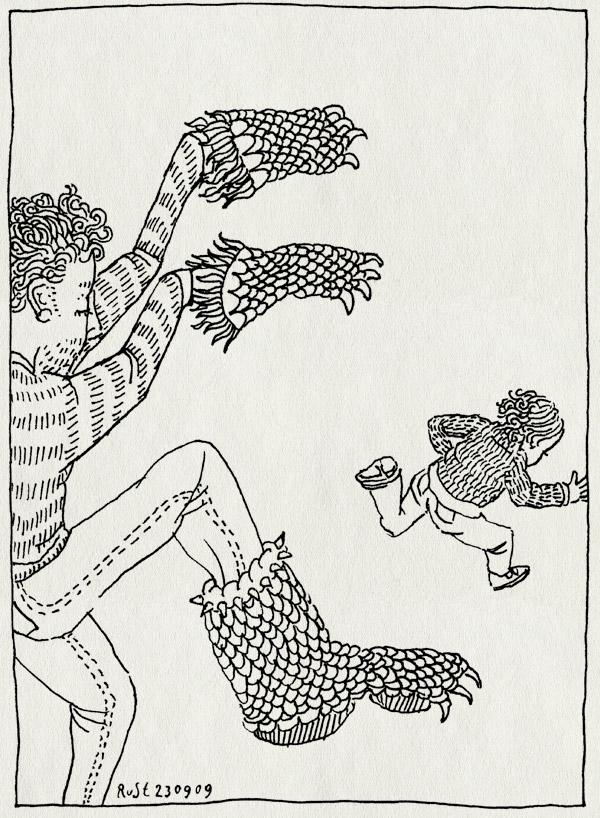 tekening 860, achtervolgen, chase, eetmonster, hands, klauwen, midas, monster, rennen, where the wild things are