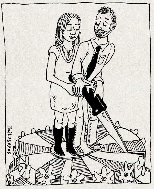 tekening 862, aansnijden, bruidstaart, bruiloft, cake, eveline, langedijk, nathan, snijden, taart, trouwen, trouwerij, wedding