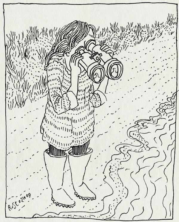 tekening 869, 10e, duin, goggles, google wave, kijken, martine, strand, uitkijk, verrekijker, wave, zee