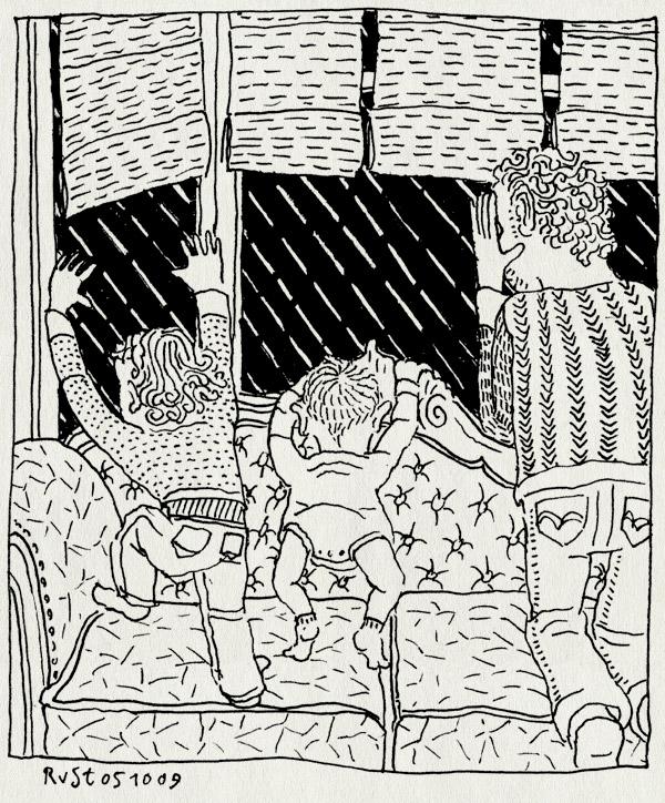 tekening 872, alwine, bank, couch, fall, herfst, maasstraat, midas, motregen, rain, regen, wachten, waiting