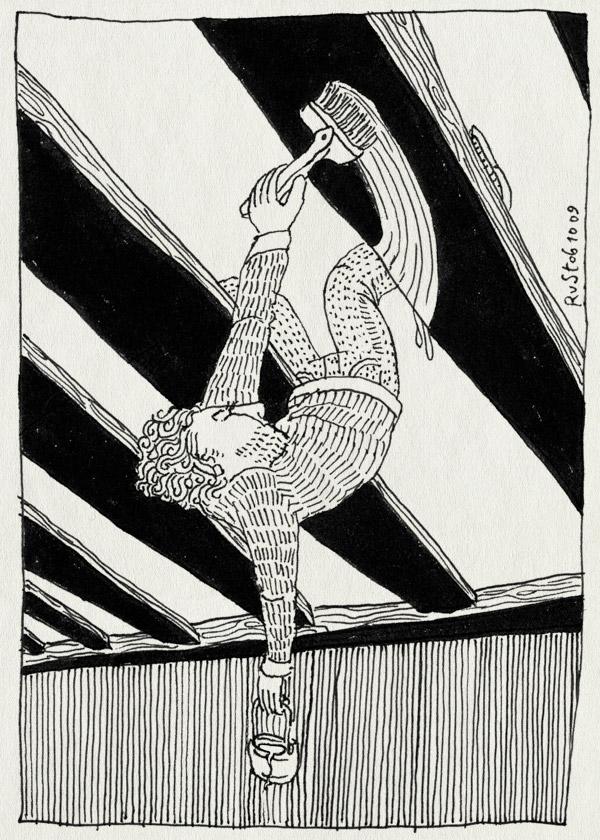 tekening 873, acrobaat, acrobat, balken, klussen, kwast, nh49, ondersteboven, paint, upsidedown, verven, witten