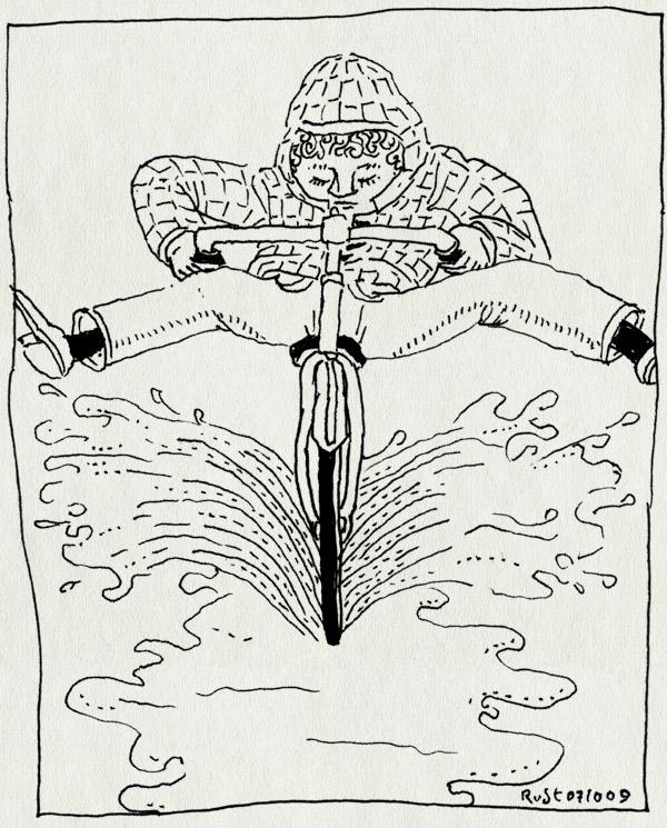 tekening 874, benen, bicycle, bike, capuchon, door de plas, fiets, omhoog, plas, rain, regen