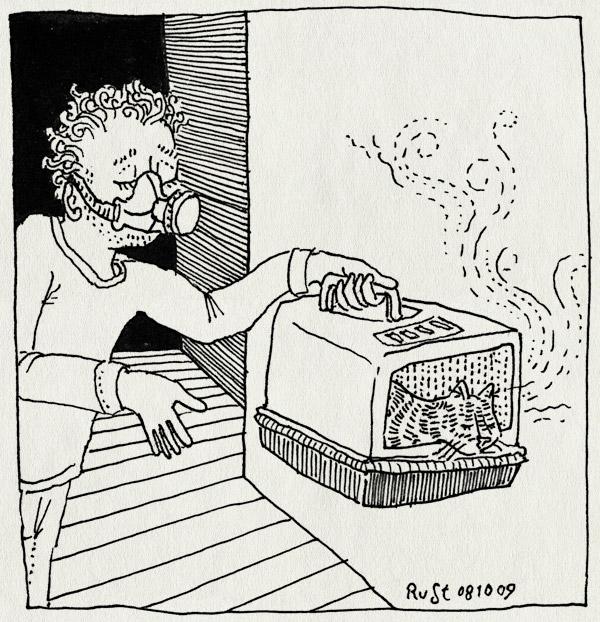 tekening 875, cat, gasmasker, geur, kattenbak, stank, stink, stinkertje, tijger, tijgertje
